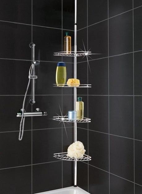 Narożna, teleskopowa półka łazienkowa pod prysznic - aż 4 poziomy