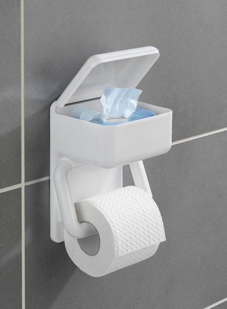Uchwyt na papier toaletowy z pojemnikiem